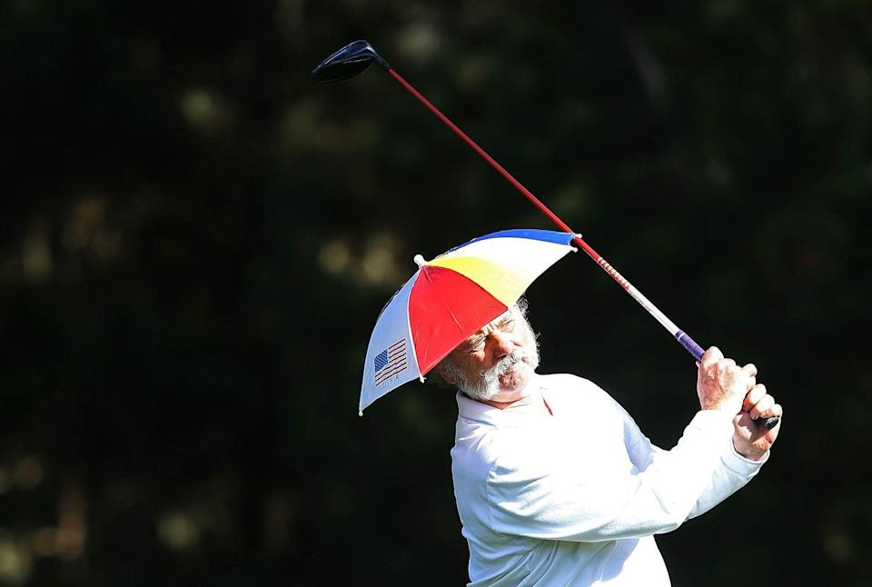 <p>Bill Murray hits a tee shot during the second round of the AT&T Pebble Beach National Pro-Am at Spyglass Hill on February 8, 2013 in Pebble Beach, California.</p>