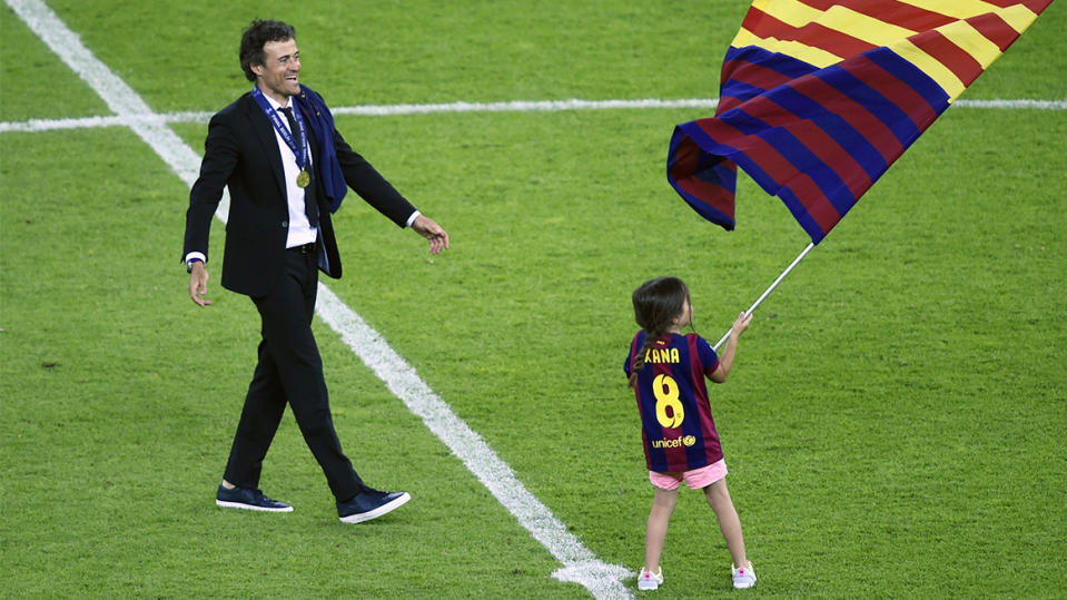 Luis Enrique with his daughter Xana in 2015. (Getty Images)