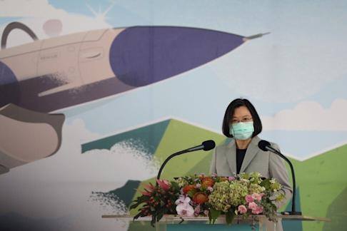Taiwanese President Tsai Ing-wen attends the inauguration ceremony of a maintenance centre for F-16 fighter jets, a collaboration between Lockheed Martin and Taiwan's Aerospace Industrial Development Corporation. Photo: Reuters