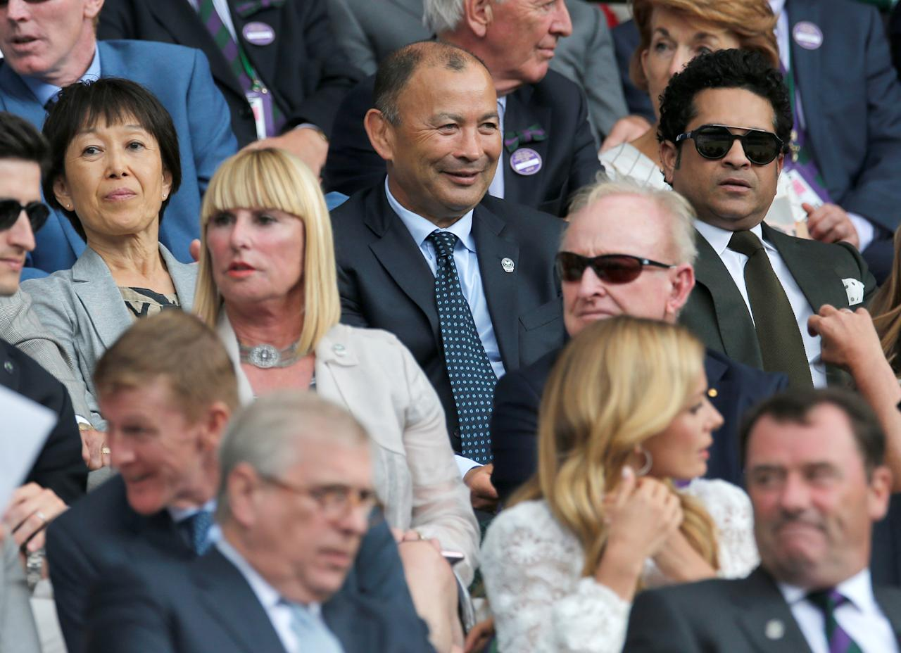 Tennis - Wimbledon - London, Britain - July 14, 2017   England rugby union head coach Eddie Jones with his wife Hiroko and former cricketer Sachin Tendulkar in the stands on centre court    REUTERS/Andrew Couldridge
