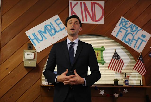 <p>Democratic candidate Jon Ossoff speaks during a visit to a campaign office to speak with volunteers and supporters on election day as he runs for Georgia's 6th Congressional District on June 20, 2017 in Sandy Springs, Ga. (Photo: Joe Raedle/Getty Images) </p>
