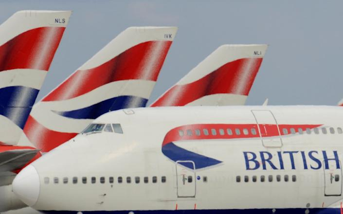 A British Airways Boeing 747 at Heathrow Airport in west London - Toby Melville/Reuters