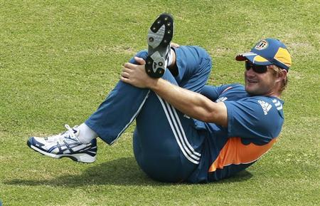Australia's Watson stretches during a practice session ahead of their first test cricket match against Sri Lanka in Galle