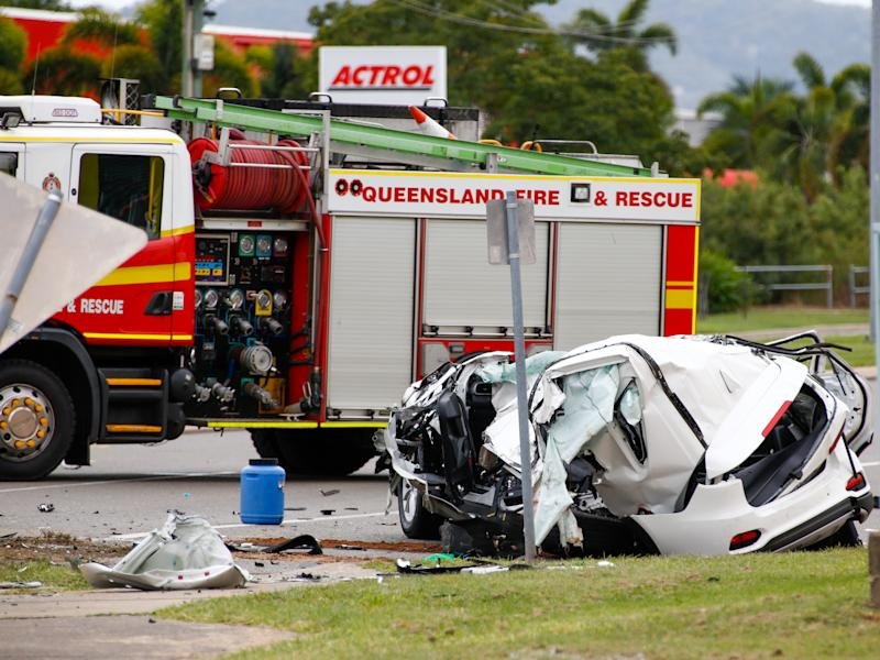Wreckage is seen at the scene of a fatal car crash in Townsville. Source: AAP