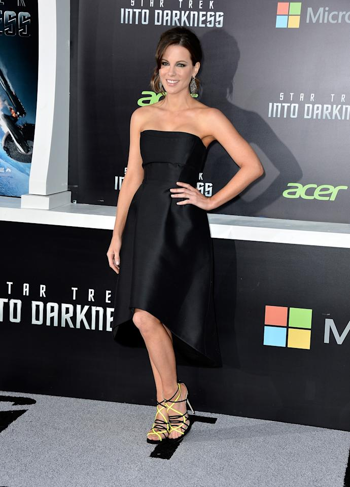 "HOLLYWOOD, CA - MAY 14:  Actress Kate Beckinsale arrives at the premiere of Paramount Pictures' ""Star Trek Into Darkness"" at Dolby Theatre on May 14, 2013 in Hollywood, California.  (Photo by Frazer Harrison/Getty Images)"