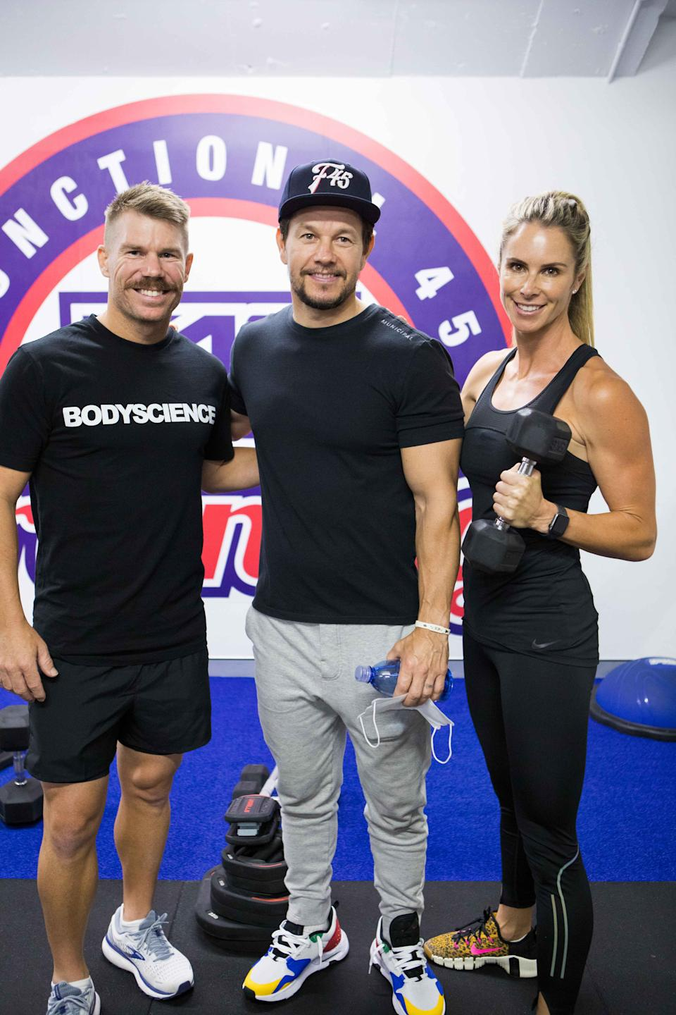 Candice and David Warner with Mark Wahlberg