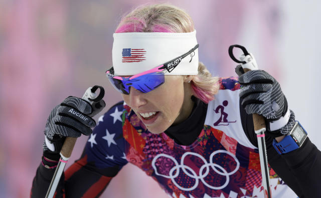 United States' Kikkan Randall catches her breath after her women's quarterfinal heat of the cross-country sprint at the 2014 Winter Olympics, Tuesday, Feb. 11, 2014, in Krasnaya Polyana, Russia. (AP Photo/Matthias Schrader)