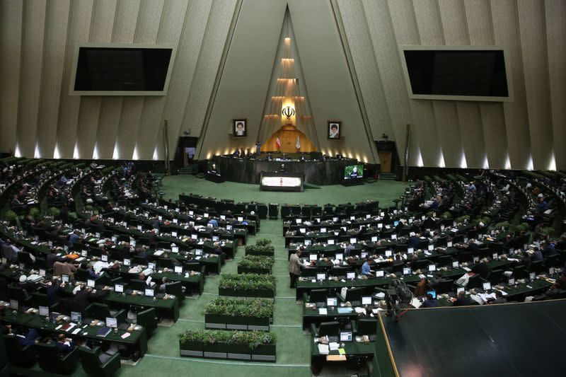 Iranian President Hassan Rouhani speaks during a session of parliament in Tehran
