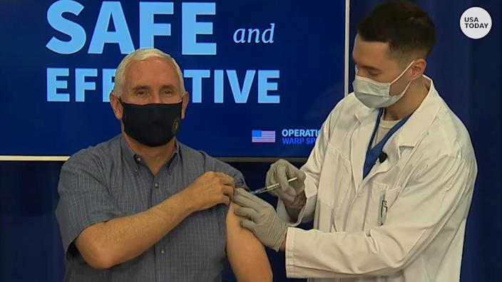 Vice President Mike Pence receives the COVID-19 vaccine Dec. 18.