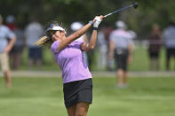 Gerina Piller watches her approach shot on the 18th hole during the third round of the Marathon LPGA Classic golf tournament at Highland Meadows Golf Club in Sylvania, Ohio, Saturday, July 10, 2021, in Sylvania, Ohio. (AP Photo/David Dermer)