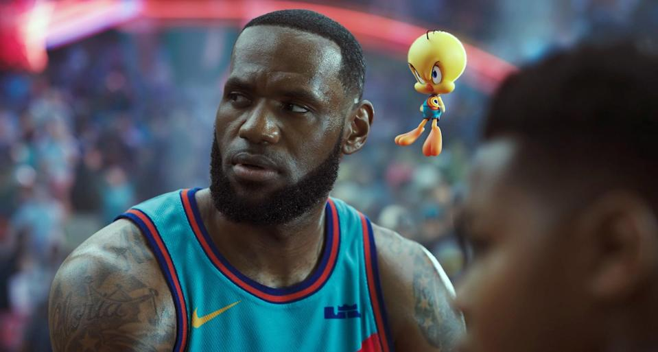 LeBron James and Tweety Bird in Space Jam: A New Legacy