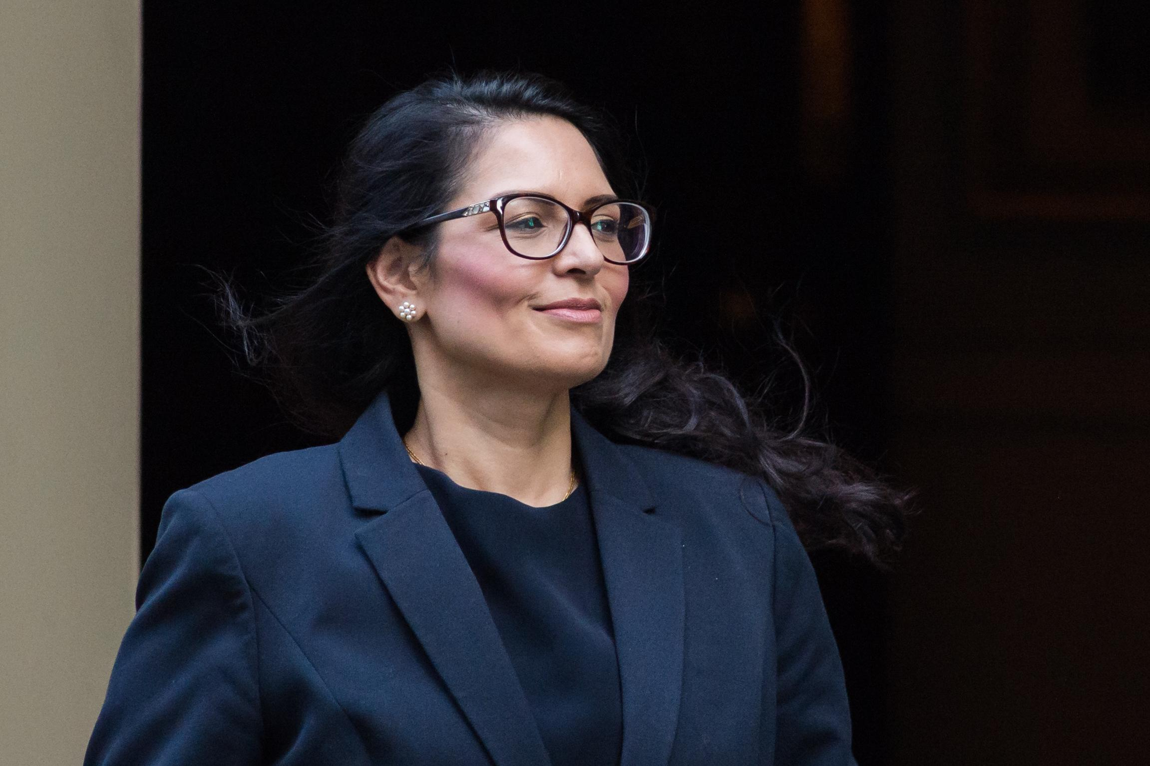 Secretary of State for the Home Department Priti Patel leaves 10 Downing Street in central London after attending the weekly Cabinet meeting on 22 October, 2019 in London, England. MPs in the House of Commons debate and vote today on the European Union Withdrawal Agreement bill, known as the second reading and on the programme motion of Boris Johnson's plan to complete the Brexit legislation within three days. (Photo by WIktor Szymanowicz/NurPhoto via Getty Images)