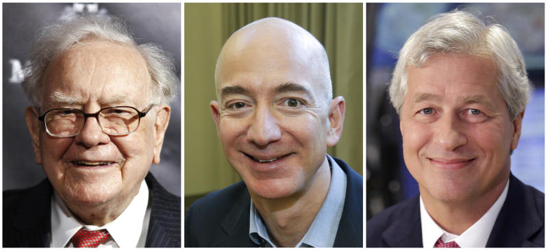 This combination of photos from left shows Warren Buffett on Sept. 19, 2017, in New York, Jeff Bezos, CEO of Amazon.com, on Sept. 24, 2013, in Seattle and JP Morgan Chase Chairman and CEO Jamie Dimon on July 12, 2013, in New York. Buffett's Berkshire Hathaway, Amazon and the New York bank JPMorgan Chase are teaming up to create a health care company announced Tuesday, Jan. 30, 2018, that is