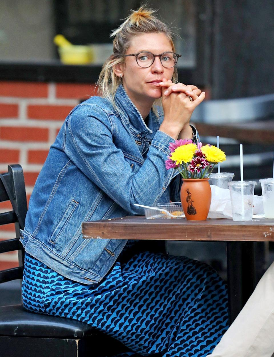 <p>Claire Danes and husband Hugh Dancy (not pictured) grab tacos together in New York City on Wednesday.</p>