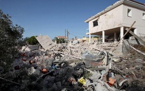The house in Alcanar which was destroyed by an explosion - Credit: EPA
