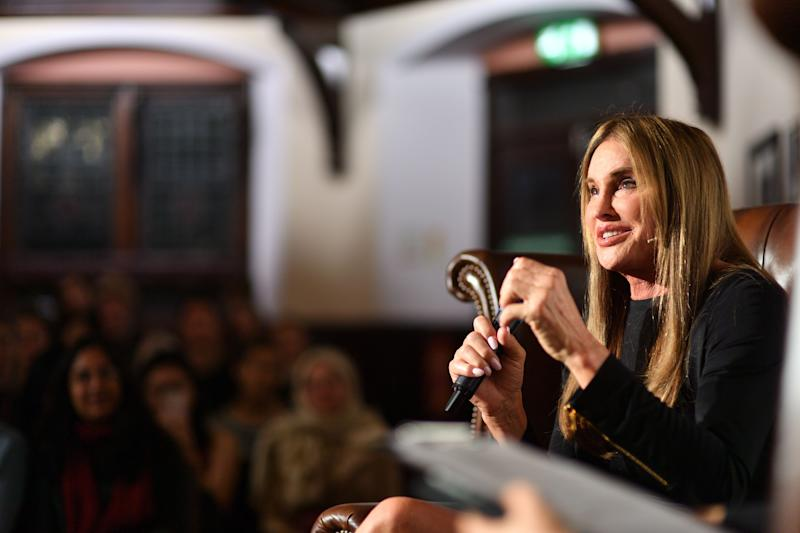 Caitlyn Jenner addresses students at The Cambridge Union.