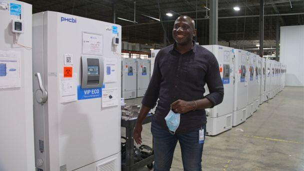 PHOTO: Brandon Williams and his team are part of the final steps of the manufacturing process, storing vaccines vials in what they've come to call a 'freezer farm.' (ABC News)