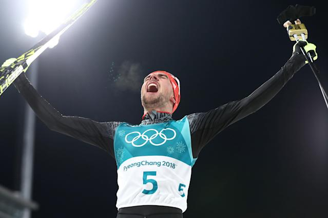 <p>Johannes Rydzek of Germany celebrates winning the gold medal during the Nordic Combined Individual Gundersen 10km Cross-Country on day eleven of the PyeongChang 2018 Winter Olympic Games at Alpensia Cross-Country Skiing Centre on February 20, 2018 in Pyeongchang-gun, South Korea. (Photo by Lars Baron/Getty Images) </p>