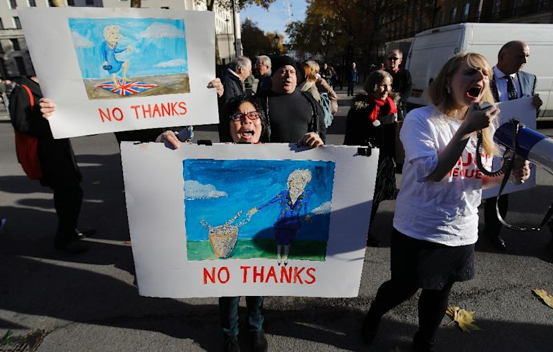"""Anti-European Union demostrators rallied in London for a """"hard"""" Brexit as the prime minister defended the deal agreed with the EU (AFP Photo/Tolga AKMEN)"""
