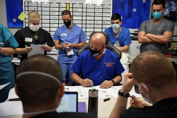 PHOTO: Dr. Joseph Varon, the chief medical officer at United Memorial Medical Center goes over the files of patients infected with COVID-19 at a daily meeting with his team of healthcare workers at UMMC, in Houston, Texas, July 17, 2020. (Callaghan O'hare/Reuters)