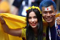 <p>A Japan fan looks on with a Colombia fan prior to the 2018 FIFA World Cup Russia group H match between Colombia and Japan at Mordovia Arena on June 19, 2018 in Saransk, Russia. (Photo by Matthew Ashton – AMA/Getty Images) </p>