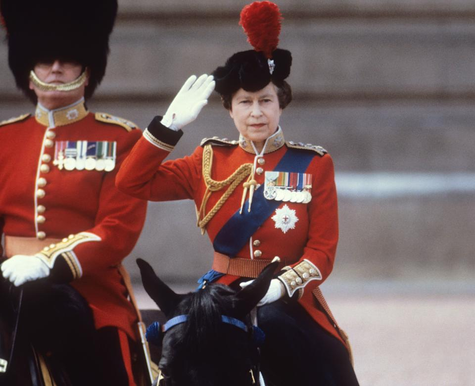 The Queen on horseback in the 1980s during Trooping the Colour [Photo: PA]
