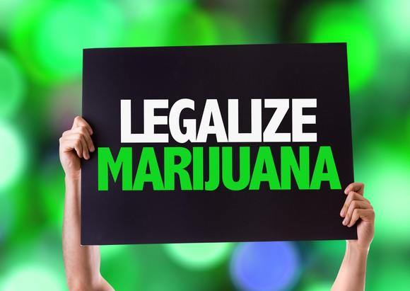 A person holds a sign that reads legalize marijuana.