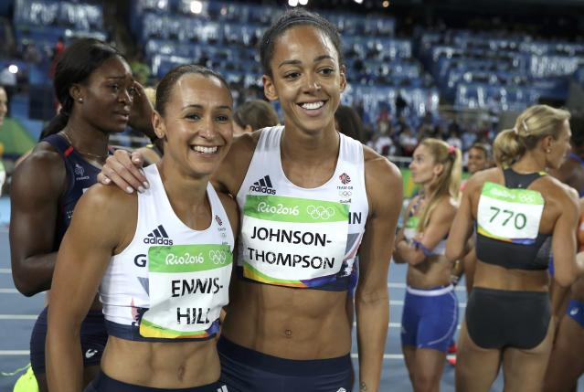 2016 Rio Olympics - Athletics - Final - Women's Heptathlon 800m - Olympic Stadium - Rio de Janeiro, Brazil - 13/08/2016. Silver medal winner Jessica Ennis-Hill (GBR) of Britain (L) and Katarina Johnson-Thompson (GBR) of Britain embrace after the event. REUTERS/Phil Noble FOR EDITORIAL USE ONLY. NOT FOR SALE FOR MARKETING OR ADVERTISING CAMPAIGNS.