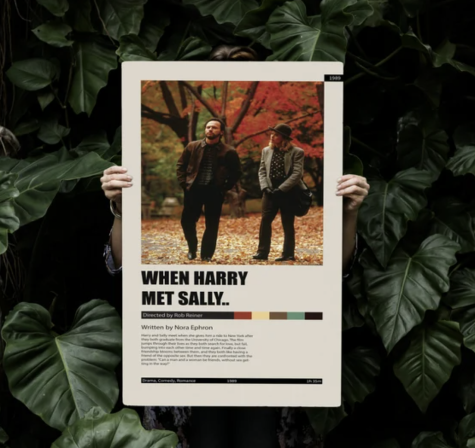 When Harry Met Sally movie poster on green leaf background