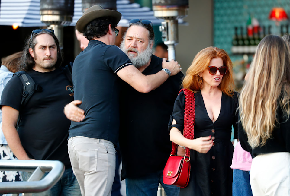 Ross Noble and Russell Crowe in Sydney.