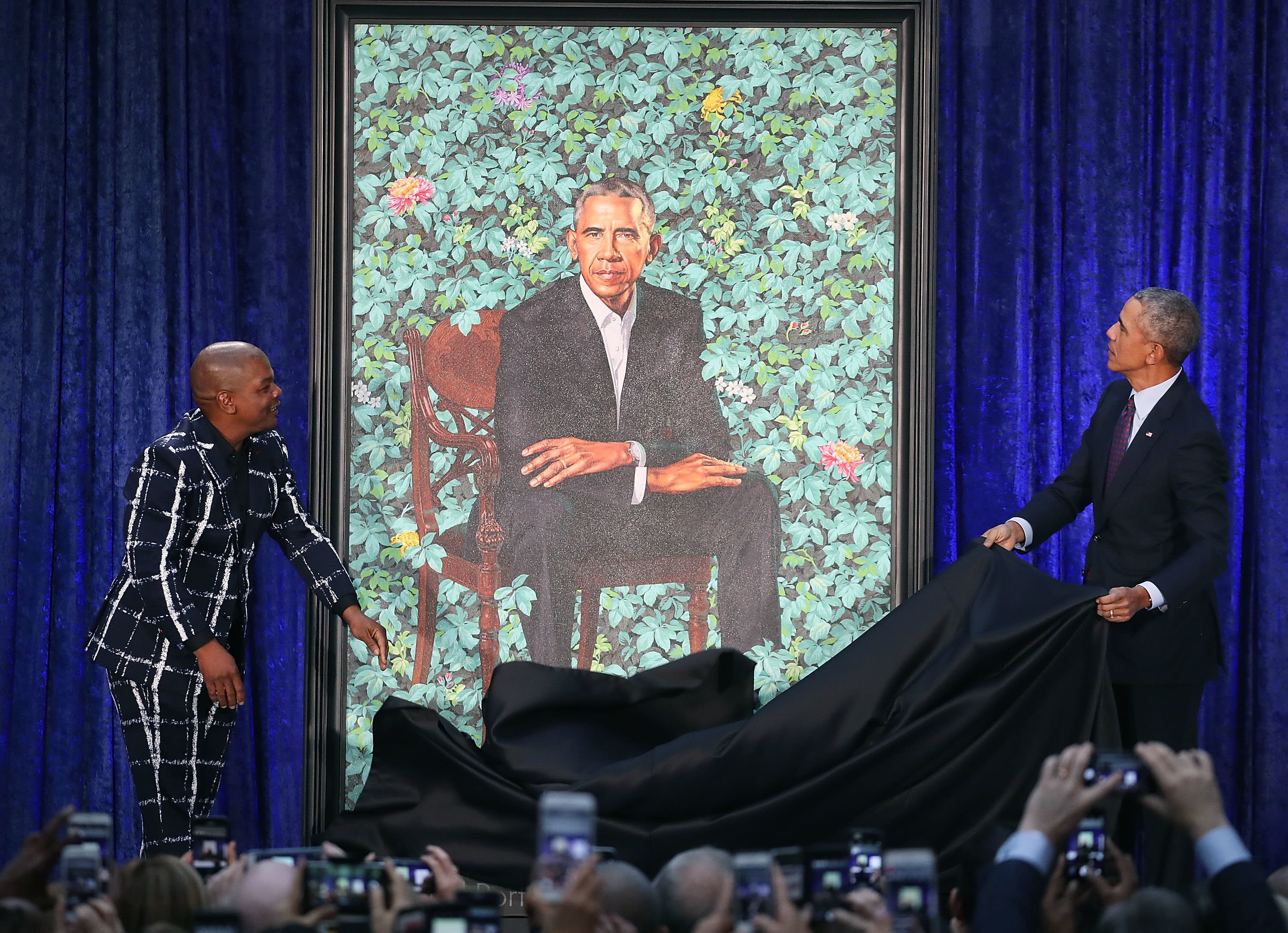 The portrait of former President Barack Obama that will be on display in the gallery. (Mark Wilson/Getty Images)