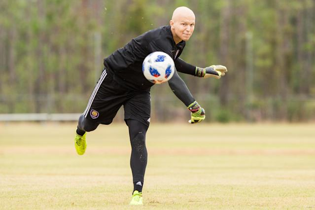 For weeks earlier this year, Orlando City goalkeeper Mason Stajduhar underwent twice-daily radiation treatments for cancer in his leg. That didn't stop him from driving nearly four hours a day to train with the team. (Mark Thor/Orlando City)