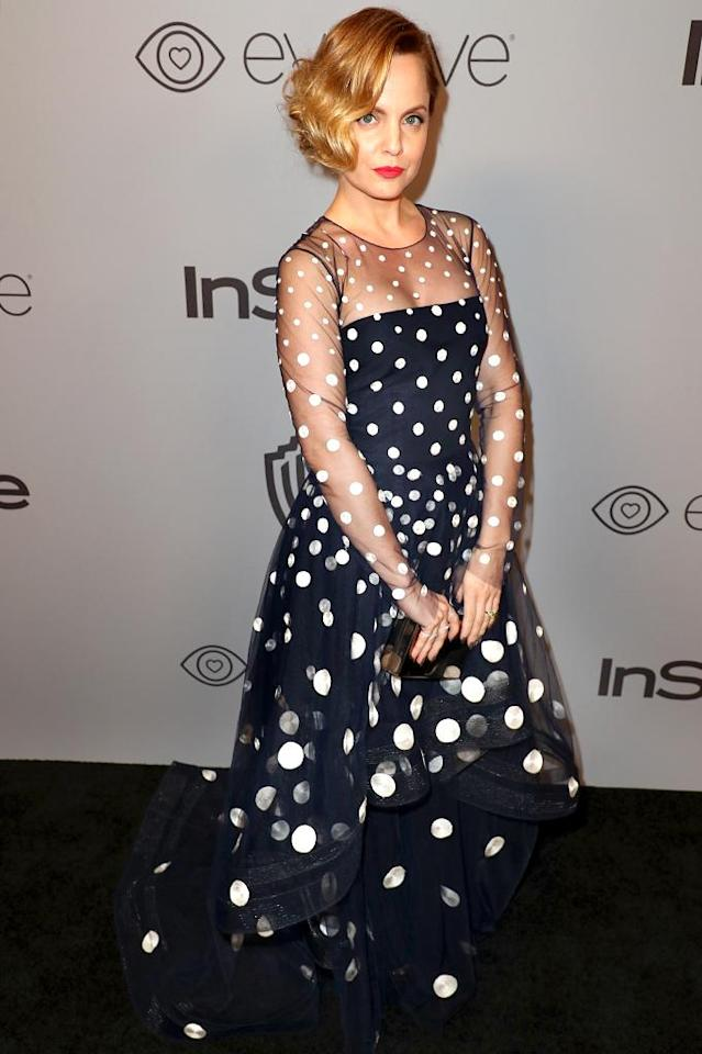 <p>Mena Suvari attends the InStyle and Warner Bros. bash. (Photo: Joe Scarnici/Getty Images for InStyle) </p>