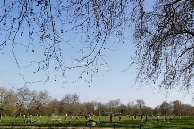 Group sport takes place in Hyde Park