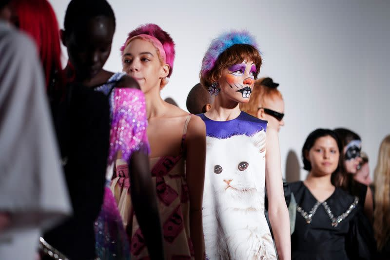Models prepare backstage ahead of the Ashley Williams catwalk show at London Fashion Week in London