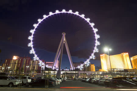 The 550 foot-tall (167.6 m) High Roller observation wheel, the tallest in the world, in seen in Las Vegas