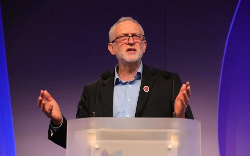 Jeremy Corbyn addresses a conference for head teachers on Sunday in Telford - Credit: Christopher Furlong/Getty Images