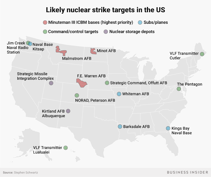 Nuclear strike targets in the US