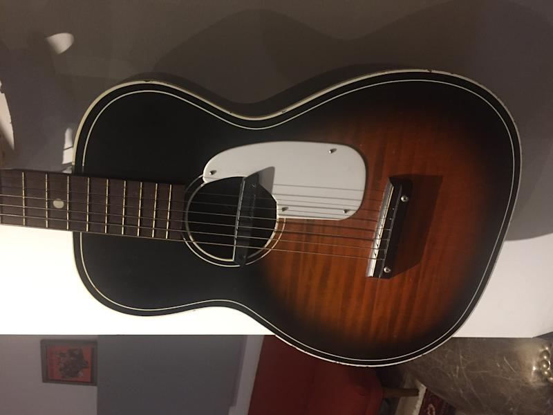 "The $25 guitar Khosla used to score scenes for ""This Is Us."" (Siddhartha Khosla)"
