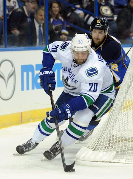 Vancouver Canucks' Chris Higgins (20) gets around St. Louis Blues' Patrik Berglund (21), of Sweden, during the first period of an NHL hockey game on Friday, Oct. 25, 2013, in St. Louis. (AP Photo/Bill Boyce)