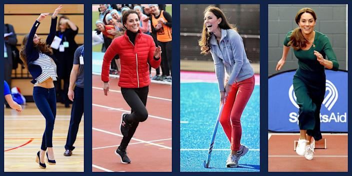 <p>Duchess Kate has always been an athlete. From her days on the St Andrew's school field hockey team to expertly racing boats with Prince William, Kate makes any sport look easy. No matter the situation (or her seemingly inappropriate footwear) royal watchers can always count on Kate to participate with a smile. Scroll through for a look at all of the Duchess's sportiest moments. </p>