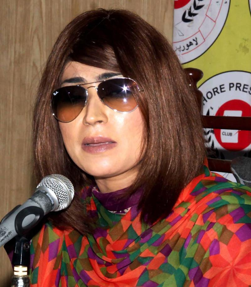 Pakistani social media celebrity Qandeel Baloch, pictured in June 28, 2016 speaking at a press conference in Lahore