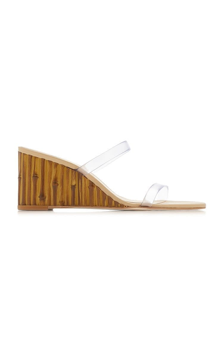 <p>These <span>Cult Gaia Eva Pvc Leather Wedges</span> ($400) look great with everything. Plus, the wooden, bamboo-like base is unique and fun.</p>