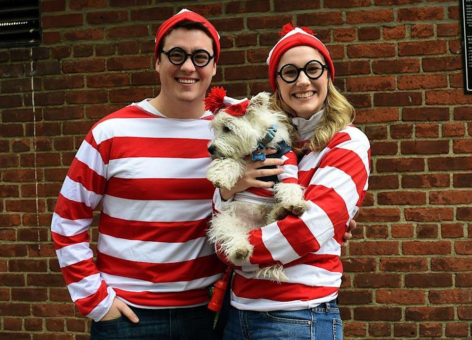 """<p>No one's going to have to search very hard to find your amazing costume. This look can also be done as a group costume — dog included. </p><p><a class=""""link rapid-noclick-resp"""" href=""""https://www.amazon.com/SSLR-Cotton-Sleeves-T-Shirt-XX-Large/dp/B075J817RC?tag=syn-yahoo-20&ascsubtag=%5Bartid%7C10070.g.490%5Bsrc%7Cyahoo-us"""" rel=""""nofollow noopener"""" target=""""_blank"""" data-ylk=""""slk:SHOP RED STRIPED SHIRTS"""">SHOP RED STRIPED SHIRTS</a> </p>"""