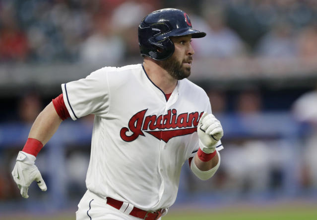 Cleveland Indians' Jason Kipnis watches his ball after hitting a solo home run off Chicago White Sox starting pitcher Dylan Covey in the fifth inning of a baseball game, Monday, June 18, 2018, in Cleveland. (AP Photo/Tony Dejak)