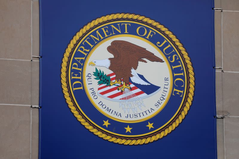 FILE PHOTO: The crest of the United States Department of Justice (DOJ) is seen at their headquarters in Washington, D.C.