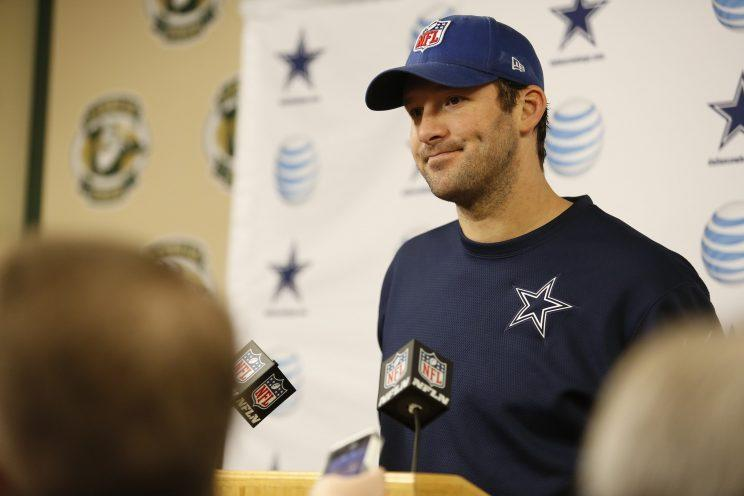 Tony Romo will make his broadcasting debut at a golf tournament this weekend. (AP)