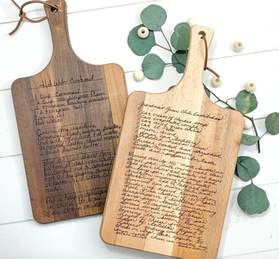 "This Texas-based Etsy shop designs custom laser-cut wood signs and home decor. Shop this <a href=""https://fave.co/2AUIp8P"" target=""_blank"" rel=""noopener noreferrer"">recipe cutting board for $59</a> at <a href=""https://fave.co/3ffYgxt"" target=""_blank"" rel=""noopener noreferrer"">Morning Joy Co on Etsy</a>."
