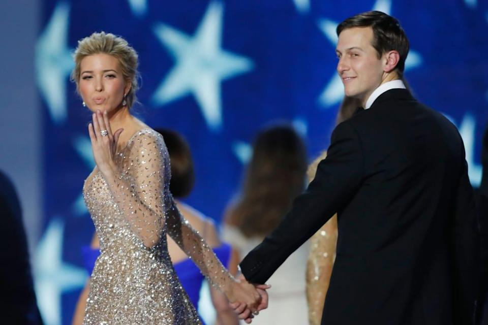 """<div class=""""inline-image__caption""""><p>Ivanka Trump and Jared Kushner dance at the Freedom Inaugural Ball at the Washington Convention Center, Jan. 20, 2017, in Washington, D.C.</p></div> <div class=""""inline-image__credit"""">Aaron P. Bernstein/Getty Images</div>"""