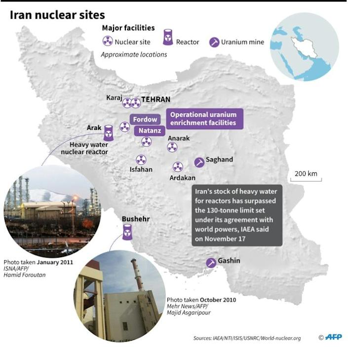 Map of Iran showing main nuclear facilities (AFP Photo/)
